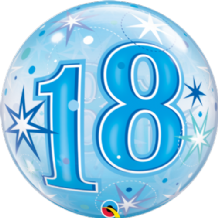 "18 Blue Starburst Bubble Balloon (22"") 1pc"